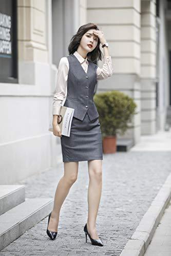 Rojeam Fit Camisa Mujer De Negocios Trajes Chaleco Blazer Falda Pantalón La gris Slim Chaleco Traje Trabajo Oficina Conjunto amp;falda HnqH6XrWS