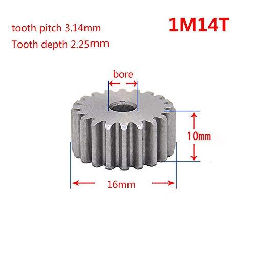 1 Mod 14T Spur Gear 45# Steel Motor Pinion Gear Thickness 10mm x1Pcs (1Mod 14T) ()