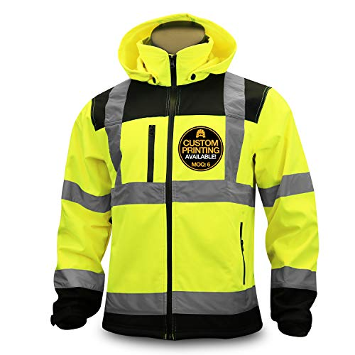(KwikSafety (Charlotte, NC) AGENT Class 3 SoftShell Safety Jacket | ANSI Water Resistant Lightweight Reflective Hi Vis PPE Detachable Hood| Wind Rain Construction, Men Women Yellow |)
