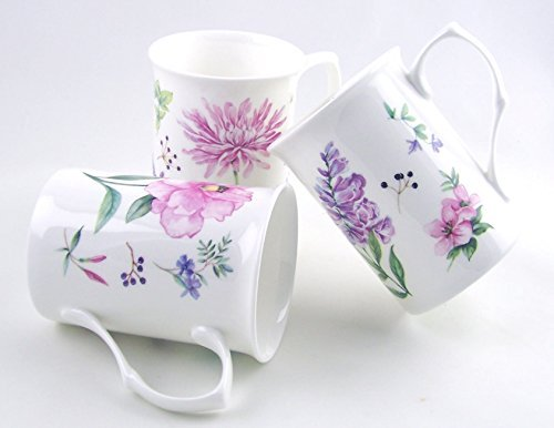 Fine English Bone China Mugs - Set of Three - Meadow Flowers By Roy Kirkham