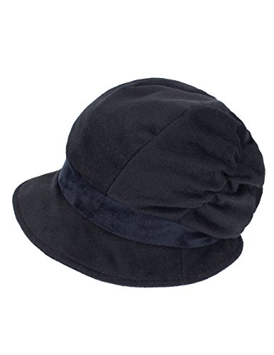 Dahlia Women's Wool Blend Newsboy Hat - Belt Spliced Slouch - Black
