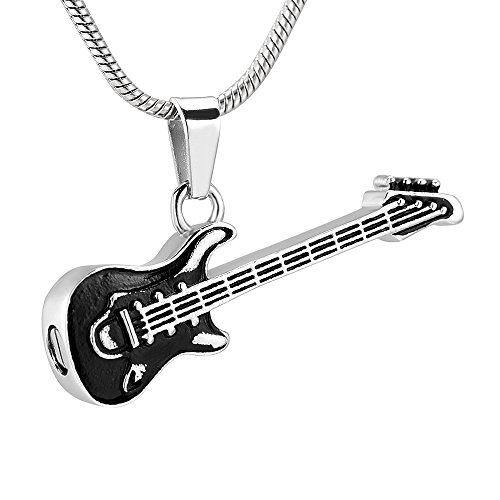 memorial jewelry Musical Instrument Cremation Necklace for Women&Men Glass Guitar Urn Necklace for Ashes by memorial jewelry