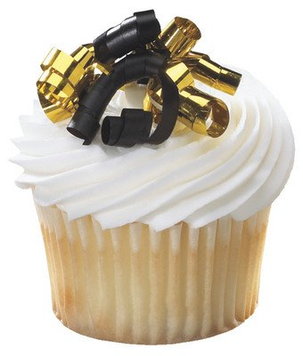 CakeSupplyShop Small Black & Gold Curly Ribbon -24pk Cupcake / Desert / Food Decoration Topper Picks with Favor Stickers & Sparkle Flakes