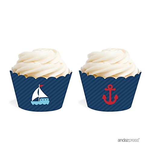 Andaz Press Birthday and Baby Shower Cupcake Wrappers, Nautical Anchor and Sailboat, 20-Pack, Decor Decorations Wraps Cupcake Muffin Paper Holders -