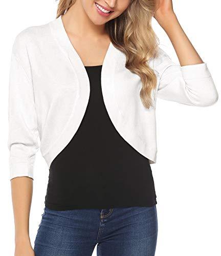iClosam Women Open Front Cardigan 3/4 Sleeve Long Sleeve Cropped Bolero Shrug (White, Large) ()