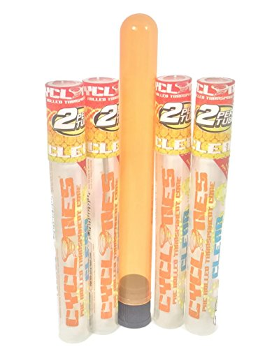 Cyclones Pimperschnaps Pre-Rolled Clear Cigar Tube Bundle-4 Cyclones Pimperschnapps plus Rolling Paper Store Doob Tube