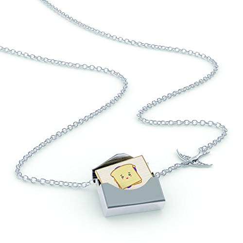 NEONBLOND Locket Necklace Peanut Butter and Jelly Sandwich Cute, Kawaii Food with Face Japanese in a Silver Envelope
