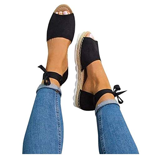 Fashare Womens Espadrilles Tie up Flat Sandals Peep Toe Classic Cutout D'Orsay Dress Shoes Black