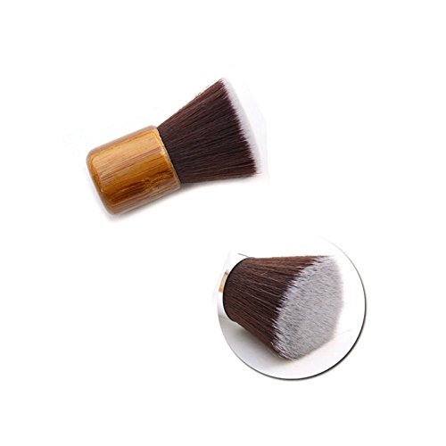 Vegan Bamboo Kabuki Brush - Full Coverage Foundation, Bronzer and Blush - Comes with travel pouch! -