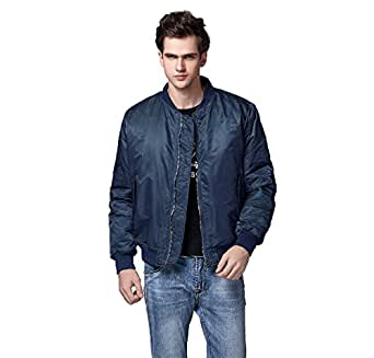 Neo-wows Men's MA-1 Slim Fit Bomber Flight Jacket Thick  Blue  Small