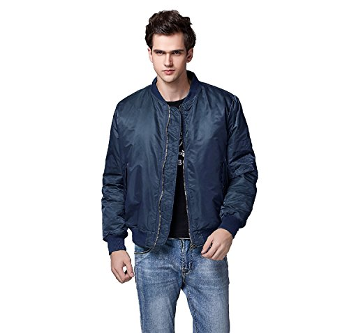 Neo-wows Men's MA-1 Slim Fit Bomber Flight Jacket Thick  Blue  Medium ()