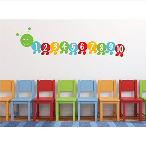 - fushoulu 90X25Cm Very Hungry Worm Number Stickers Counting Number Decals Children's Wall Decal for Kids Playroom Wall Decal