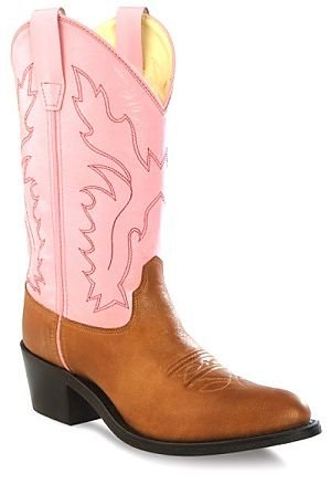 Girls Leather Cowboy Boots in Pink & Brown 11 M US Little Kid