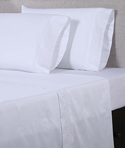 Greek Pillow Embroidered Key - Affluence 600 Thread Count 100% Cotton Embroidered Sheet Sets - Greek Key Pattern (Queen Sheet Set, White/White)