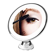 BESTOPE 10x Magnifying LED Lighted Makeup Mirror, Bathroom Vanity Mirror with Locking Suction, Compact USB Travel Mirror, 360°Rotation, Dimmable Light, Battery Operated, Cordless (Round) (HZ112-CA)