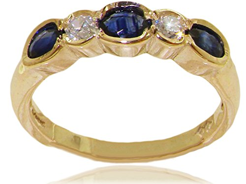 LetsBuyGold 18k Yellow Gold Natural Sapphire and Diamond Womens Eternity Ring - Sizes 4 to 12 Available ()