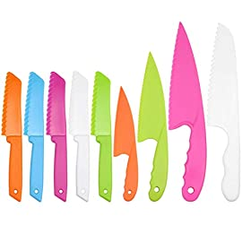 SelfTek 9 Pcs Kid Plastic Kitchen Knife Set,BPA-Free Plastic,Chef Nylon Knife and Children's Cooking Knives,Kids Baking Knife for Fruit, Bread, Cake, Lettuce Knife, Salad Knife and Safe Kitchen Knife 8 PERFECT COOKING TOOL FOR KIDS - The 9 Pcs kid plastic kitchen knife set,perfect cooking tool for kids. contains 5 pieces square knife, 4 pieces cusp shape knife, has different beautiful and bright colors MULTIPURPOSE - Plastic cooking knife , Knife safely cut many types of fruit, lettuce, vegetables, bread, cheese, cake, carrots, zucchini, strawberries and more,They are safe for little hands, appropriate for young gastronomic apprentices ages 4 and up (not only for kids) CHARACTERISTICS - The nylon knife with safe serrated cutting edges that WON'T CUT SKIN,the knives are lightweight and easy to handle,this little chef set will help safeguard fingers from the dangers and risks of peaked metal knives
