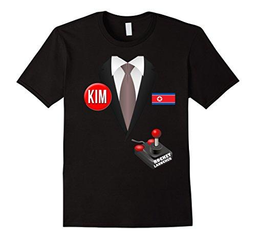 [Mens North Korea Halloween T-Shirt with Rocket Launcher Large Black] (Kim Halloween Costume)