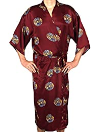 Mandala Motif - Men's Satin Robe, Long