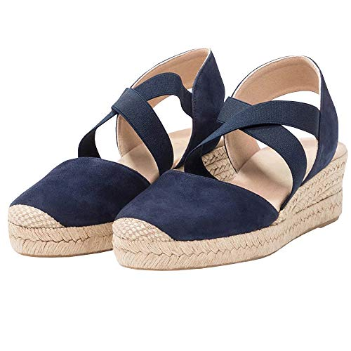 LAICIGO Womens Platform Wedges Espadrilles Cap Toe Crisscross Slingback Elastic Band Summer Sandals