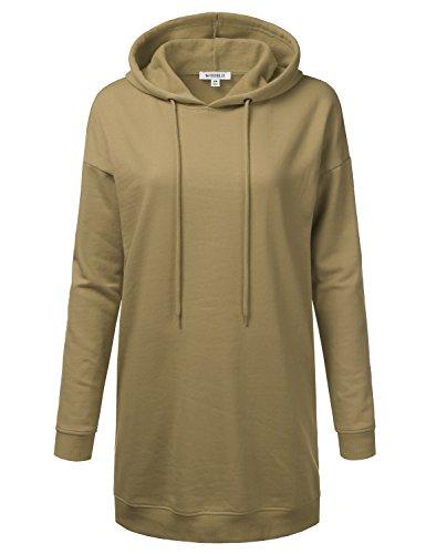 Doublju Longline Pullover Raglan Tunic Hoodie Sweatshirts For Women Khaki Large