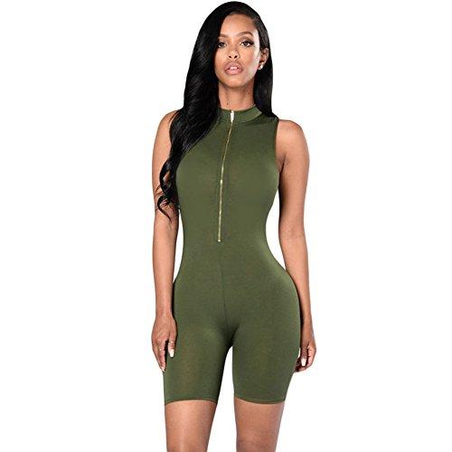 Century Star Womens Close Fit Zip Front Mock Neck Sleeveless Capris Romper Jumpsuit Green - The Gardens Address Mall