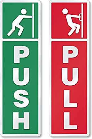 asmi collections self adhesive push and pull sign stickers set of