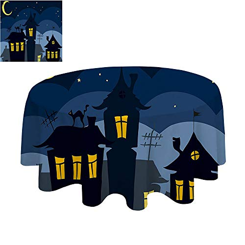 Modern tablecloth-50Inch-Indoor or Outdoor Party.Halloween Old Town with Cat on The oof Night Sky Moon and Stars Hous Cartoon Art Black Yellow Blue. -