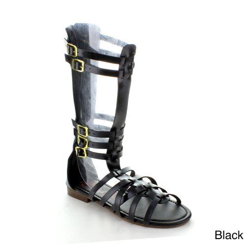 Anna Couture-1 Donna Ginocchio Alto Gladiatore Strappy Gabbia Posteriore Piatto Zip Boot Sandalo, Colore: Nero, Misura: 6