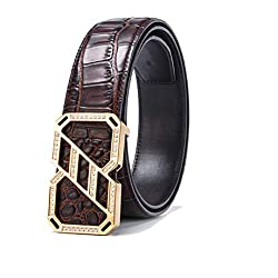 Men's Alloy Diamond Buckle Leather Belt