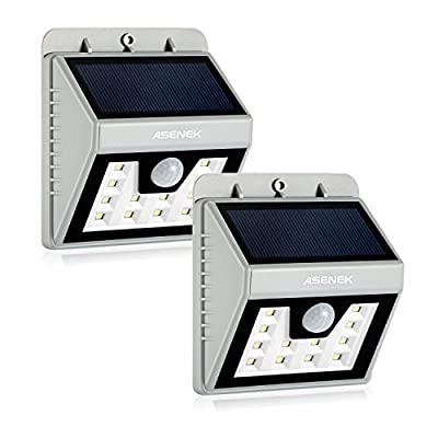 ASENEK White & Gray 12 LED Solar Lights
