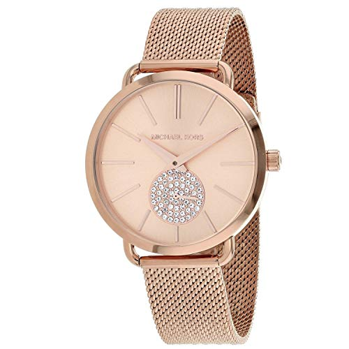 Michael Kors Women's Portia Analog-Quartz Watch with Stainless-Steel Strap, Rose Gold, 16 (Model: MK3845) (Rose Gold Strap Watch)