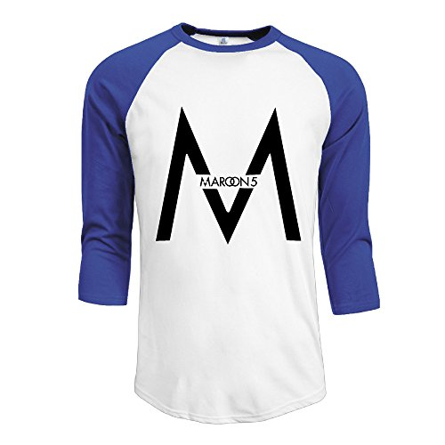 CALZ Men's Maroon 5 Band Logo 3/4 Sleeve Cotton Tees XXL RoyalBlue