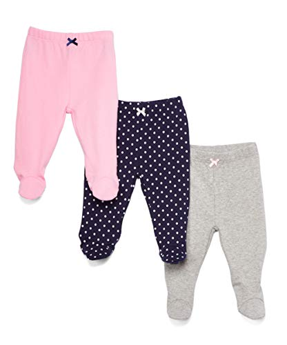 Spasilk Baby Girls 3 Pack Cotton Footed Pants, Navy Dots, 6 Months