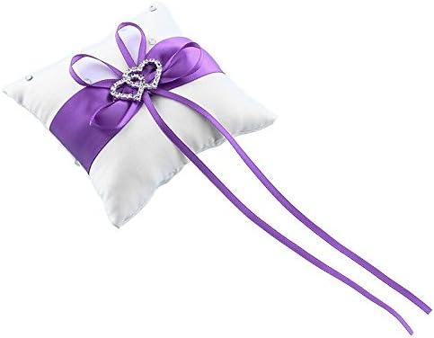 Cr/éatif Anneau Porte Oreiller Coussins De Mariage Chambre Maison Cristal Strass Double Coeur Cadeau Fenghong Bague Oreiller