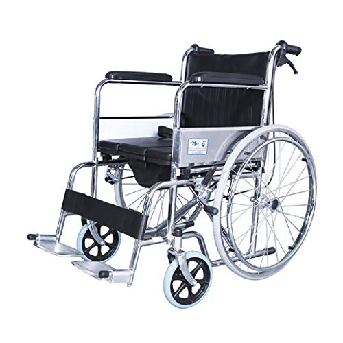 Commode Chair with Seat/Pedal,Commode Wheelchair Bedside Locking Casters, Patient Portable Bidet Chair Shower Bath Chair for Elder Disabled People Pregnant Women.