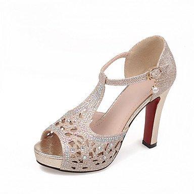 LvYuan Mujer-Tacón Robusto-Otro Zapatos del club-Sandalias-Informal-Materiales Personalizados-Negro Plata Oro Silver