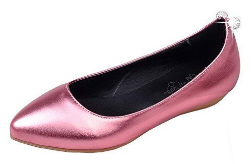 Allhqfashion Dames Effen Pu Lage Hakken Pull-on Gesloten-teen Pumps-schoenen Roze