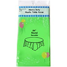 "(12-pack) Heavy Duty Plastic Table Covers Tablecloth (Reusable) (Round 84"", Apple Green)"