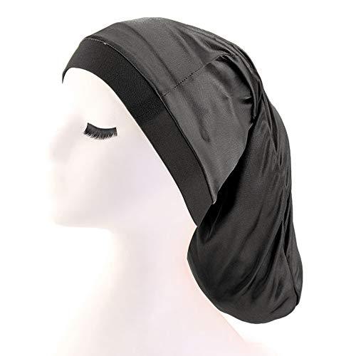 Unisex Open Back Spandex Dreadlocks Braids Hair Bonnet Cap Long Cylinder Sleep Slouch Hat for Men Women (Black)