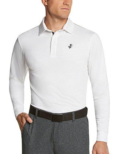Jolt Gear Men's Dry Fit Long Sleeve Polo Golf Shirt, Moisture Wicking, White