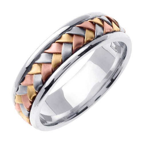 14K & Sterling Silver Tri Color Hand Braided Wedding Ring Band for Women (Hand Braided Wedding Band)