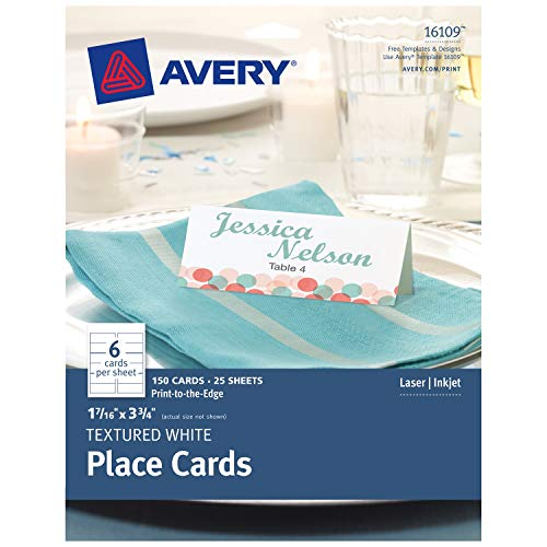 Avery Textured Place Cards, White, 1.43 x 3.75 Inches, Pack of 150 ()
