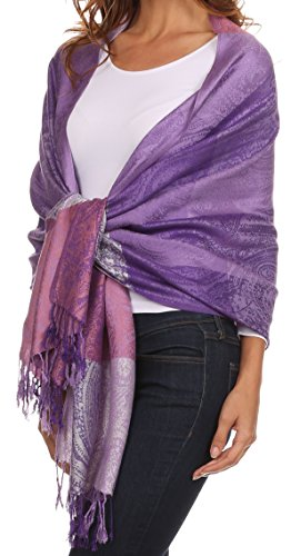 Sakkas CHS1611 - Avril colorful allover Paisley Pashmina/ Shawl/ Wrap/ Stole - 2-Purple - OS