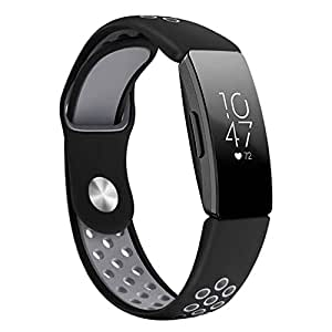 """Small & Large Band Replacement Compatible for Fitbit Inspire/Inspire HR Fitbit Bands, TPU (Black+Grey, Small (Fit 5.5-6.7"""" Wrist))"""