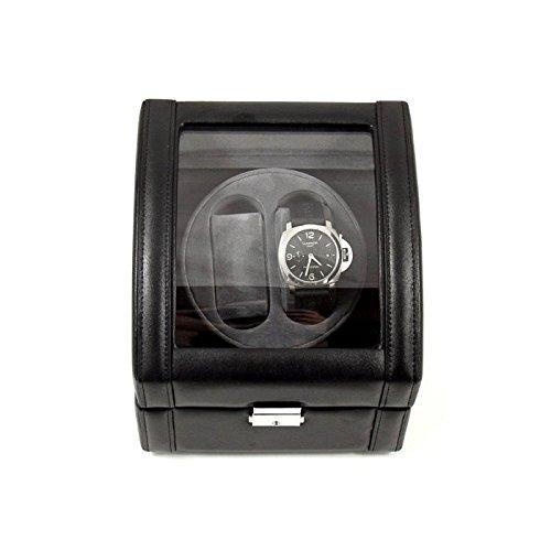 Bey-Berk Leather 2 Watch Winder, Black