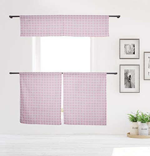 (Vera Neumann Angelica Plaid Gingham Checkered Curtain Valance Set for Small Kitchen Window, Cafe, Bath, Laundry or Bedroom, 58 X 15 Inch, Blush)