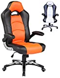 ViscoLogic Series YS-8703 BO Gaming Racing Style Swivel Office Chair, BLACK/Orange For Sale