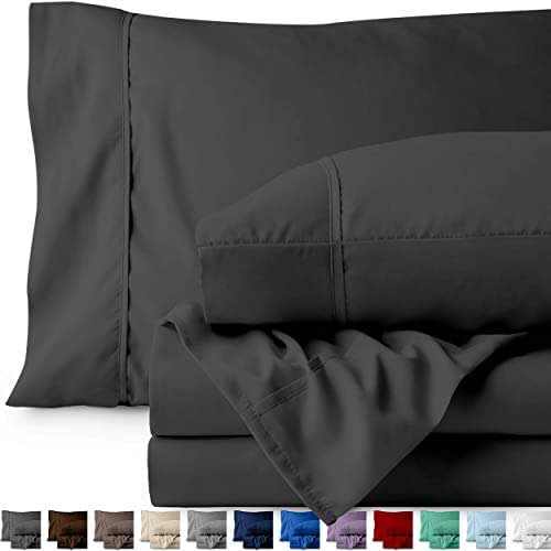 Bare Home Split Head Flex King Sheet Set - 1800 Ultra-Soft Microfiber Bed Sheets - Double Brushed Breathable Bedding - Hypoallergenic – Wrinkle Resistant - Deep Pocket (Split Head Flex King, Grey)