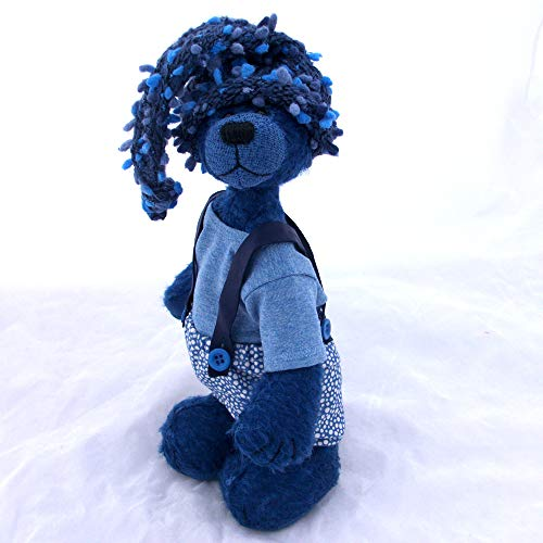 (Zaffre- Teddy Bear Blue Mohair Artist Collectable OOAK 10 inches)
